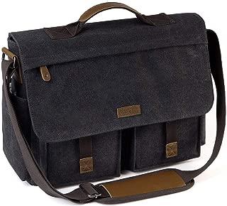 Messenger Bag for Men, VASCHY Vintage Water Resistant Waxed Canvas Satchel 15.6 inch Laptop Briefcase Shoulder Bag with Padded Shoulder Strap Gray