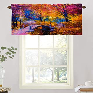 BaoNews Colorful Autumn Color Kitchen Valances Window Curtain, Brown Abstract Oil Painting On Canvas Autumn Tree Blackout ...
