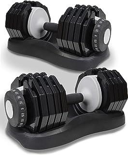 Nomad Fitness - Juego de mancuernas ajustables (2,5 kg-25 kg, esfera seleccionable, 10 pesos diferentes, entrenamiento en casa, gimnasio (par)