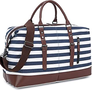 Women Travel Tote Bags Weekender Overnight Carry on Tote Duffel Tote Bag With Luggage Sleeve and USB charging Port (One_Size, Blue Stripe 3)