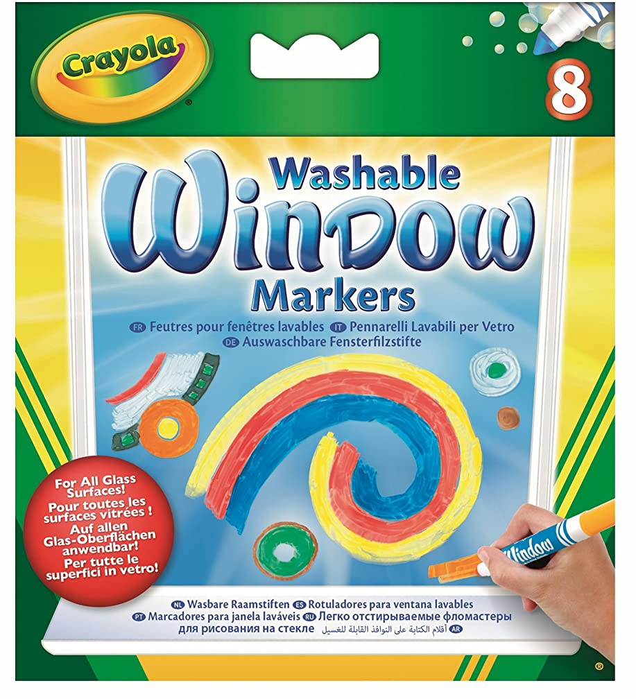 Crayola; Washable Window Markers; Art Tools; 8 Works on All Glass Surfaces [Set of 3]