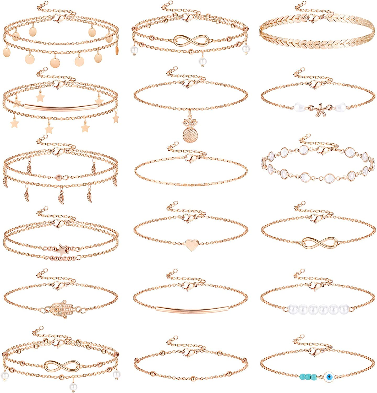 Jstyle 18Pcs Ankle Bracelets for Women Pearl Chain Evil Eye Beach Boho Layered Adjustable Cute Anklet Foot Wholesale Jewelry