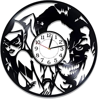 Kovides Joker and Harley Quinn Wall Clock Xmas Gift for Fan DC Comics Vinyl Record Wall Clock Harley Quinn Birthday Gift Idea for Man Movie Original Home Decor Suicide Squad Handmade Clock 12 Inch
