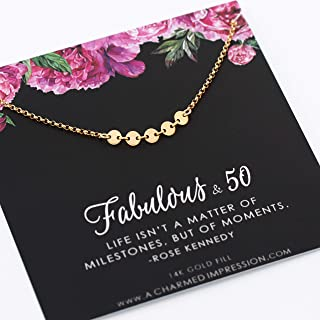 50th Birthday Gift for Women • Fabulous 50 Years Old Milestone Jewelry • 14k Gold • Five Circles for 5 Decades Necklace • Fiftieth Birthday • Meaningful Quote Card and Necklace • Jewelry with Meaning