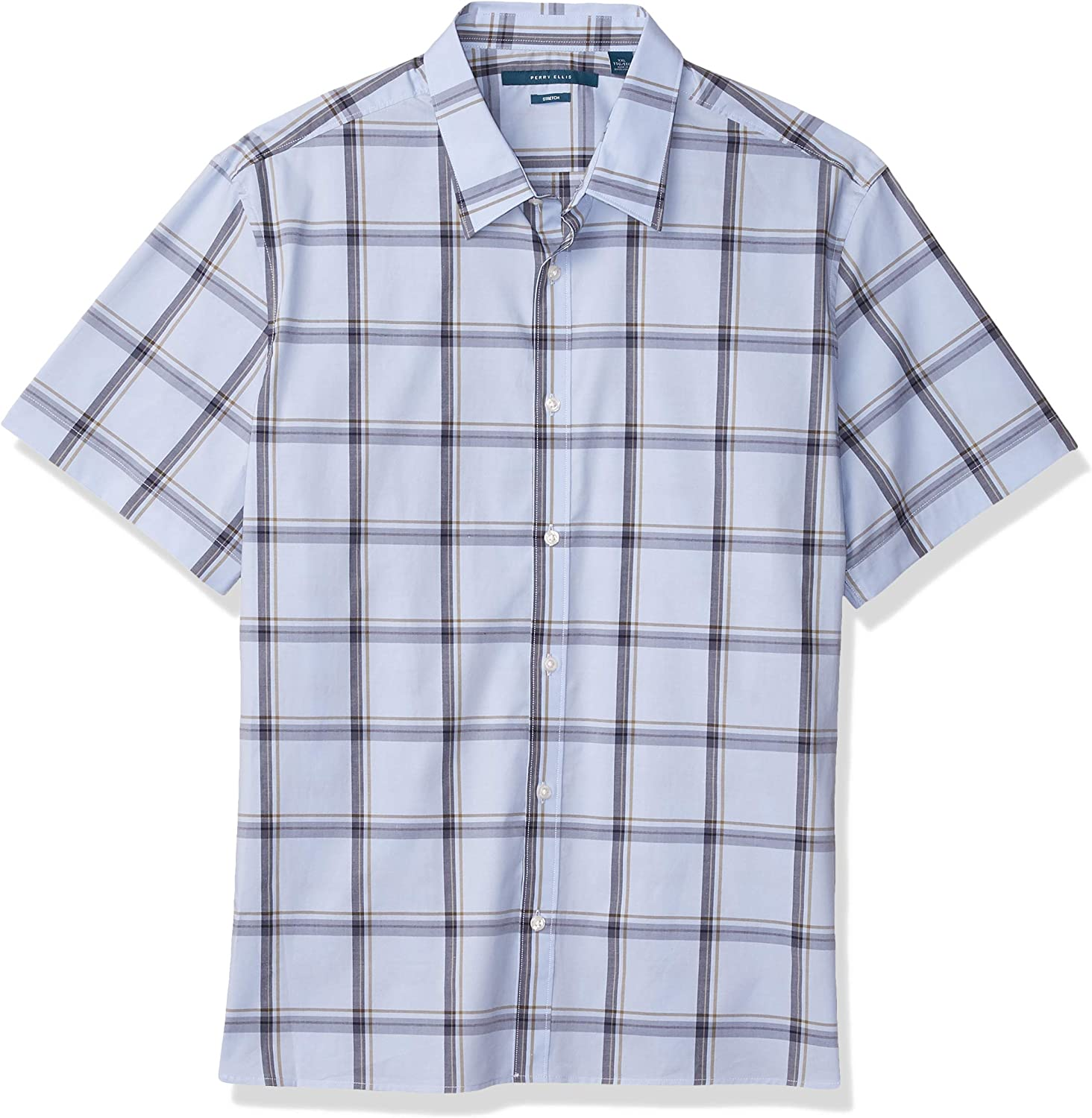 Perry Ellis Cheap super special price Men's Multi-Color Open Sleeve Max 72% OFF Plaid Short Button-Dow