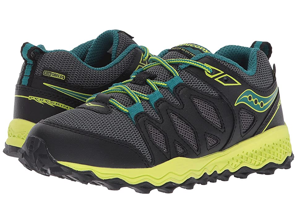 Saucony Kids Peregrine Shield (Little Kid/Big Kid) (Black/Lime/Green) Boys Shoes