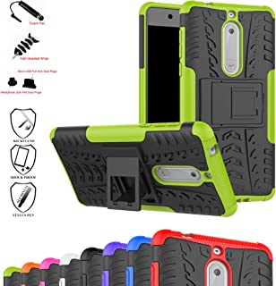 Nokia 5 Case,Mama Mouth Shockproof Heavy Duty Combo Hybrid Rugged Dual Layer Grip Cover with Kickstand for Nokia 5 5.2 inch 2017 (with 4 in 1 Packaged),Green