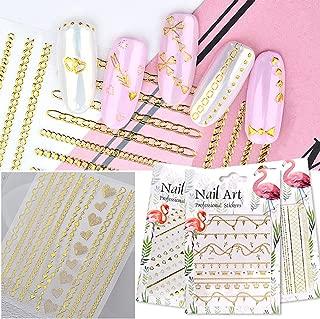Banamic Gold Metallic Chains Nail Stickers 3d Mix Wave Heart Bow Self Adhesive Sticker DIY Nail Art Decorations