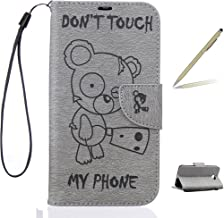 Trumpshop Smartphone Protective Case for Huawei Y6 II Compact + Don't Touch My Phone (Baby Bear) Gray + Premium PU Leather Flip Wallet Cover Bookstyle [Not compatible with Huawei Y6 and Y6 II]