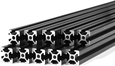 10 Pack ZYLtech Black 2020 T Slot Aluminum Extrusion for 3D Printer and CNC - 10X 1M