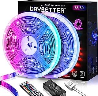 DAYBETTER Led Lights 65.6ft, 5050 RGB Led Strip Lights Flexible Color Changing Remote Control Led...