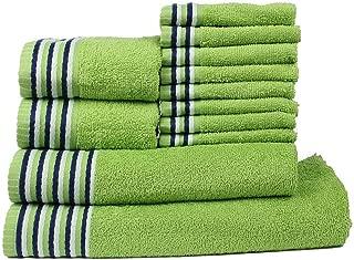 CASA COPENHAGEN Trident Premium Candy Stripes Soft and Light 100% Combed Cotton 400 GSM 12-Pieces (Bath, Hand & Wash Cloth) Towel Gift Set, Green