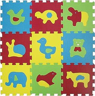 LUDI – Tapis de sol épais pour l'éveil de bébé – 1050 - puzzle géant aux motifs Animaux – dès 10 mois – lot de 9 dalles en...