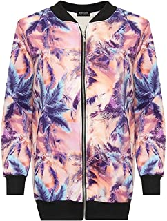 DIGITAL SPOT Womens Fancy Night Party Printed Zip Up Jacket Ladies Dress Party Ribbed Cough Top AU 14-28