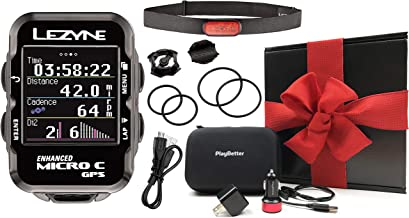 Lezyne Micro C Bike GPS Loaded Kit Bundle | with Out-Front Mount & PlayBetter Portable Charger | Lightweight, Vibrant Color Screen | Cycling GPS Computer