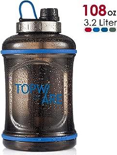 TOOFEEL 108 OZ/3.2 Liter Large Portable Jug BPA Free Leak-Proof Half Year Warranty Plastic Kettle Transparent Black Water Drinking Gym Bottle for Sports Outdoor Travel …