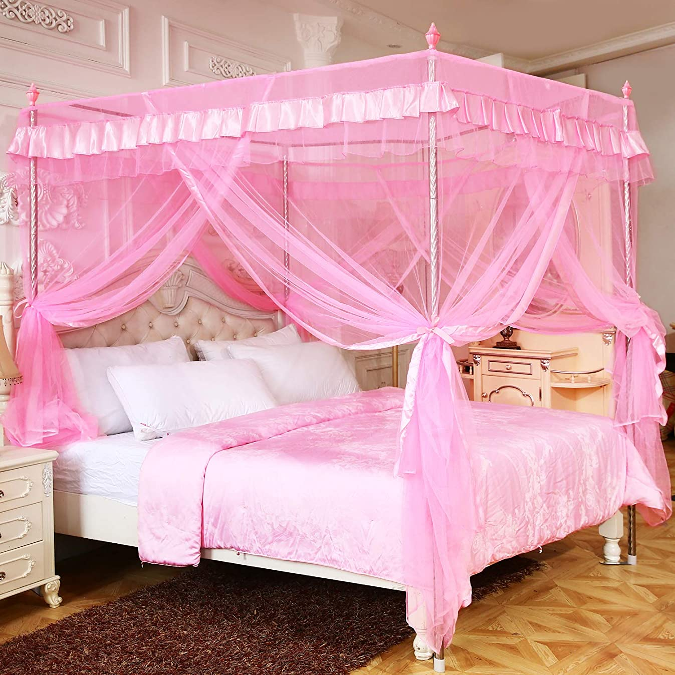 Pink Princess 4 Corners Post Canopy Bed Curtains For Girls Kids Toddlers Crib Bed Canopy Netting, Bedroom Decor,Gift (Twin)