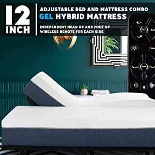 Blissful Nights Premium Adjustable Bed Frame and 12 Inch Hybrid Gel Infused Memory Foam Mattress Medium Soft Feel CertiPUR-US Certified (Split King)
