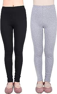 2 Pack Girls 100% Cotton Fleece Lined Warm Leggings for Winter