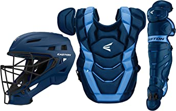 Easton Elite X Baseball Catchers Equipment Series Box Set, 2021, Helmet, Chest Protector + NOCSAE Commotio Cordis Foam, Leg Guards, NOCSAE Approved for All Levels of Play