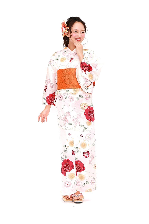 [ボヌールセゾン] bonheur saisons レディース浴衣セット 作り帯 薄黄色 クリーム 赤ピンク 桜 菊 金魚 ラメ 綿 女性