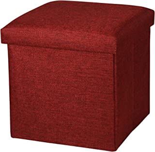 NISUNS OT01 Linen Folding Storage Ottoman Cube Footrest Seat, 12 X 12 X 12 Inches (Linen Wine Red)