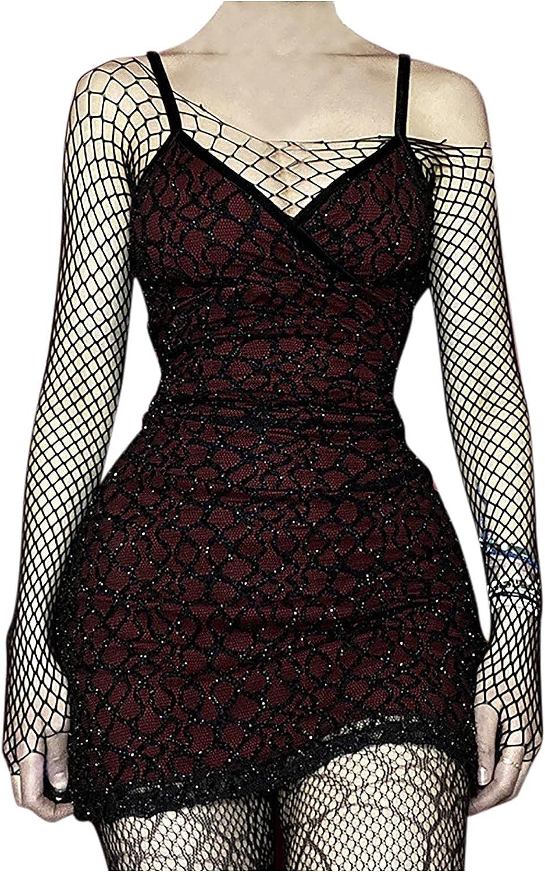 Womens Gothic Sexy Mesh Suspender Dress Trendy V-Neck Sleeveless Spaghetti Strap Tight Party Mini Dress Clubwear