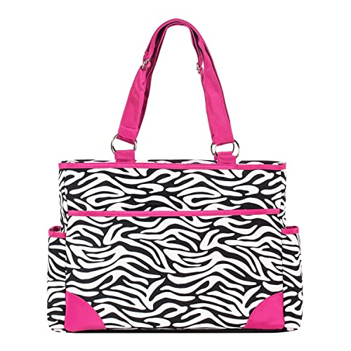 SoHo diaper bag Pink zebra 7 pieces set nappy tote bag large capacity for baby mom