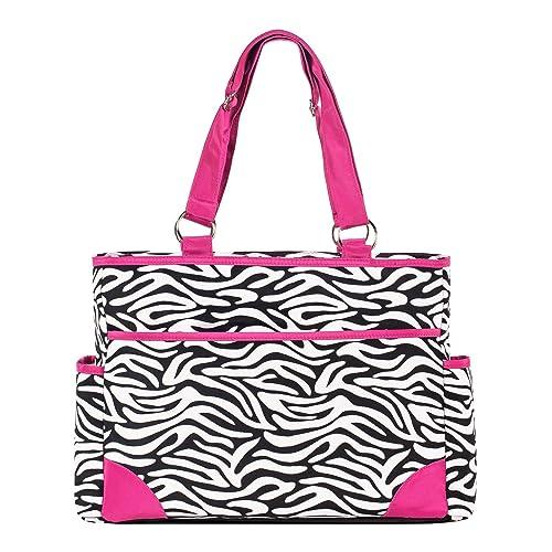 SoHo diaper bag Pink zebra 7 pieces set nappy tote bag large capacity for baby mom