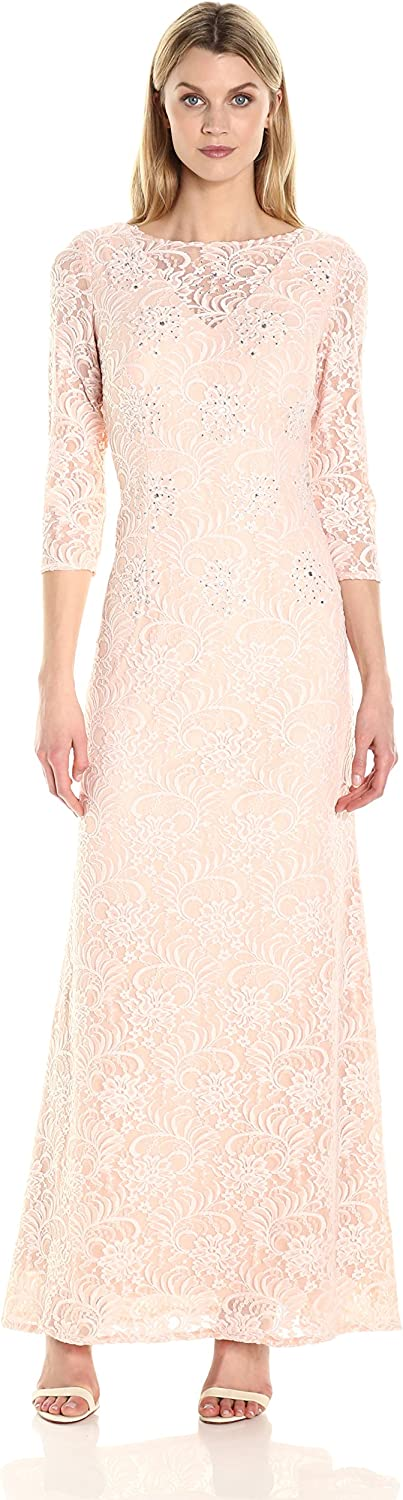 Alex Evenings Womens Long Lace Dress with Illusion Necklilne and Sleeves