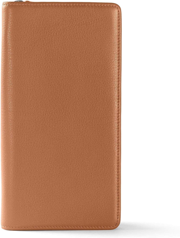 Leatherology Genuine gift Cognac Travel Zip Holder Passport Wallet Organizer