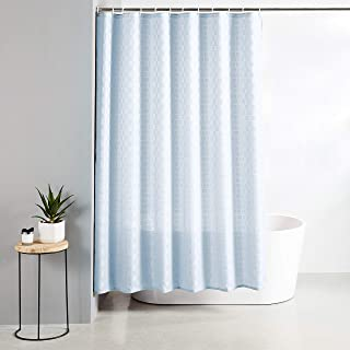 Amazon Brand - Solimo Ruccio Polyester Shower Curtain, 72 inch x 79 inch, Sky Blue