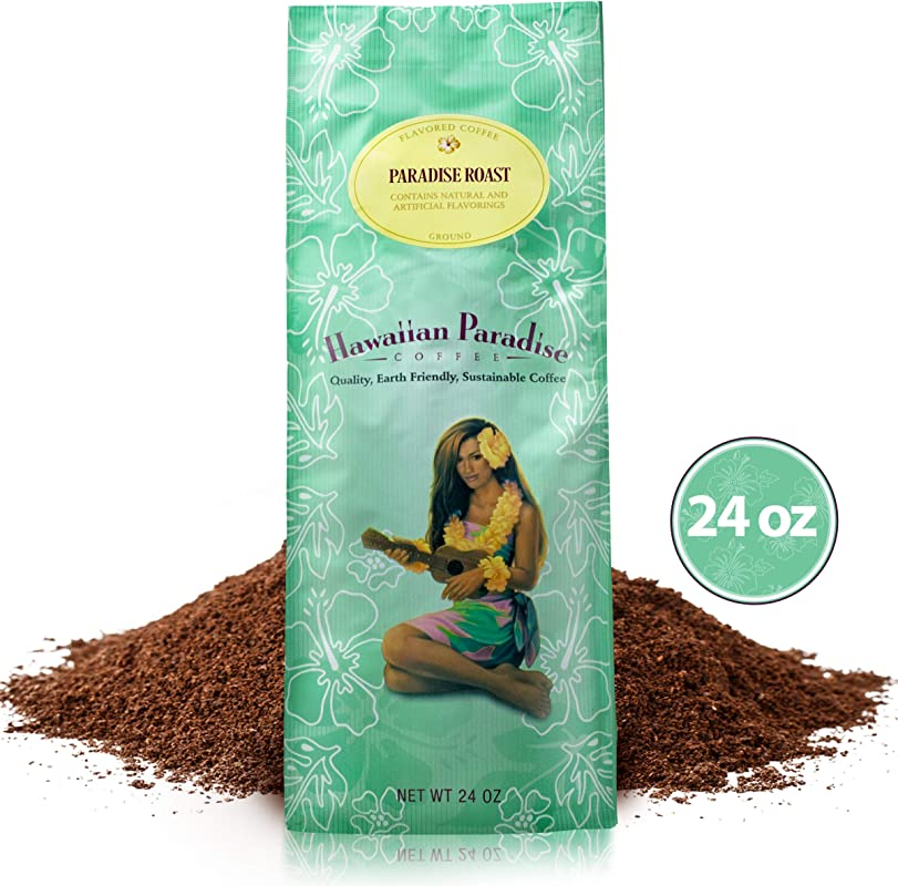 Hawaiian Paradise Coffee Medium Roast 24 OZ World Class Premium Flavored Grounds Gourmet Signature Brewed Made From The Finest Beans Farm Fresh Earth Friendly Paradise Roast