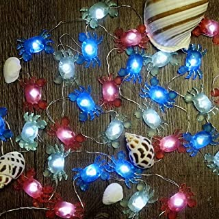 IMPRESS LIFE Marina Theme Christmas Decorative String Lights, Fairy Big Crab Battery-powered, Flexible Wire 10 ft 30 LEDs with Dimmable Wireless Remote Control for Aquarium, Ocean, DIY Home Decoration