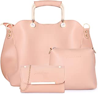 Shining Star Women's Handbag With Sling Bag & Clutch (Set of 3) (D-Cream CL)