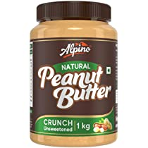 Alpino Natural Peanut Butter Crunch 1 KG   Unsweetened   30% High Protein Peanut Butter Crunchy   Made with 100% Roasted Peanuts   No Added Sugar or Salt   No Hydrogenated Oils   Non GMO   Gluten Free   Vegan