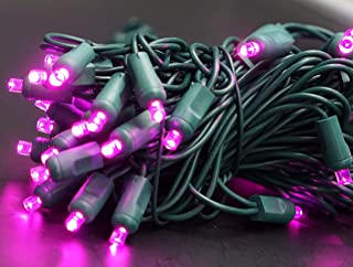 50 LED Christmas Mini Light Set 5MM Conical Wide Angle Indoor/Outdoor Use 120V UL Certified Green Wire 17ft (Purple)