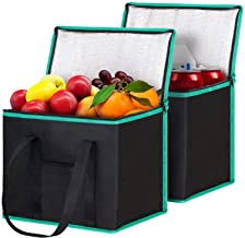 WiseLife Reusable Shopping Bags Grocery Bags [ 2 Pack ] with Handles, Insulated Bags Food Delivery Bags Cooler Bags with Z...
