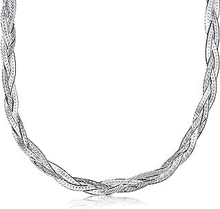 Amberta Collana da Donna in Argento Sterling 925 Maglia Spina di Pesce 5 mm Lunghezza 45 cm