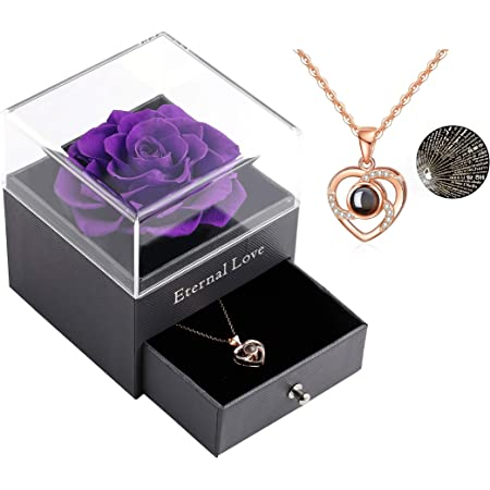 gift Valentine/'s day gift for woman Necklace heart poetic crew neck silver heart flower and purple cord