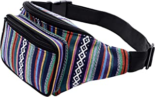 Kayhoma Boho Fanny Pack Stripe Festival Rave Retro Vintage Bum Bags Travel Hiking Waist Belt Purse