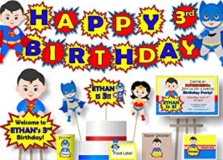 Personalized Superhero Birthday Party Baby Shower Banner - Optional Heroes Superman, Batman, Captain America, Wonder Woman - Optional Cake Topper, Centerpiece, Sign, Favor Tags or Stickers - BCPCustom