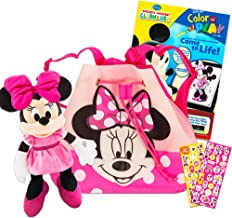 Disney Minnie Mouse Drawstring Backpack Super Set ~ Bundle Includes Minnie Mouse Drawstring Bag, Plush Puppet, Mickey Mouse Coloring Book, and Minnie Mouse Stickers (Minnie Mouse Party Supplies)