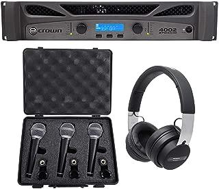 Crown Pro XTI4002 XTI 4002 3200w DSP Amplifier+Audio Technica Headphones+3 Mics