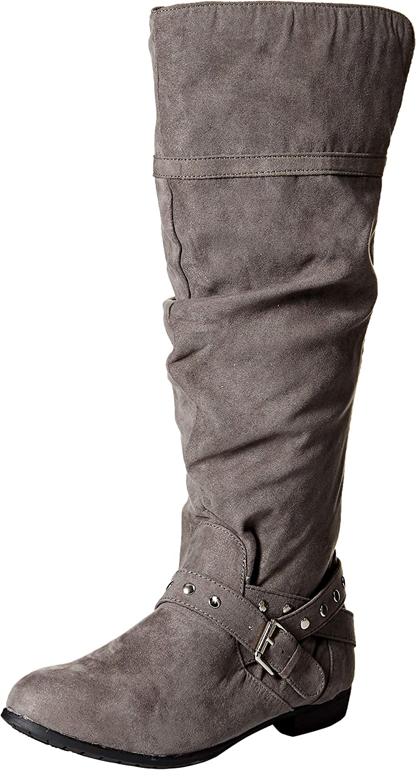 Rampage Womens Women Beeded Round Toe Studded Strap Knee High Boot Knee High Boot