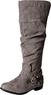 Women's Beeded Round Toe Studded Strap Knee High Boot