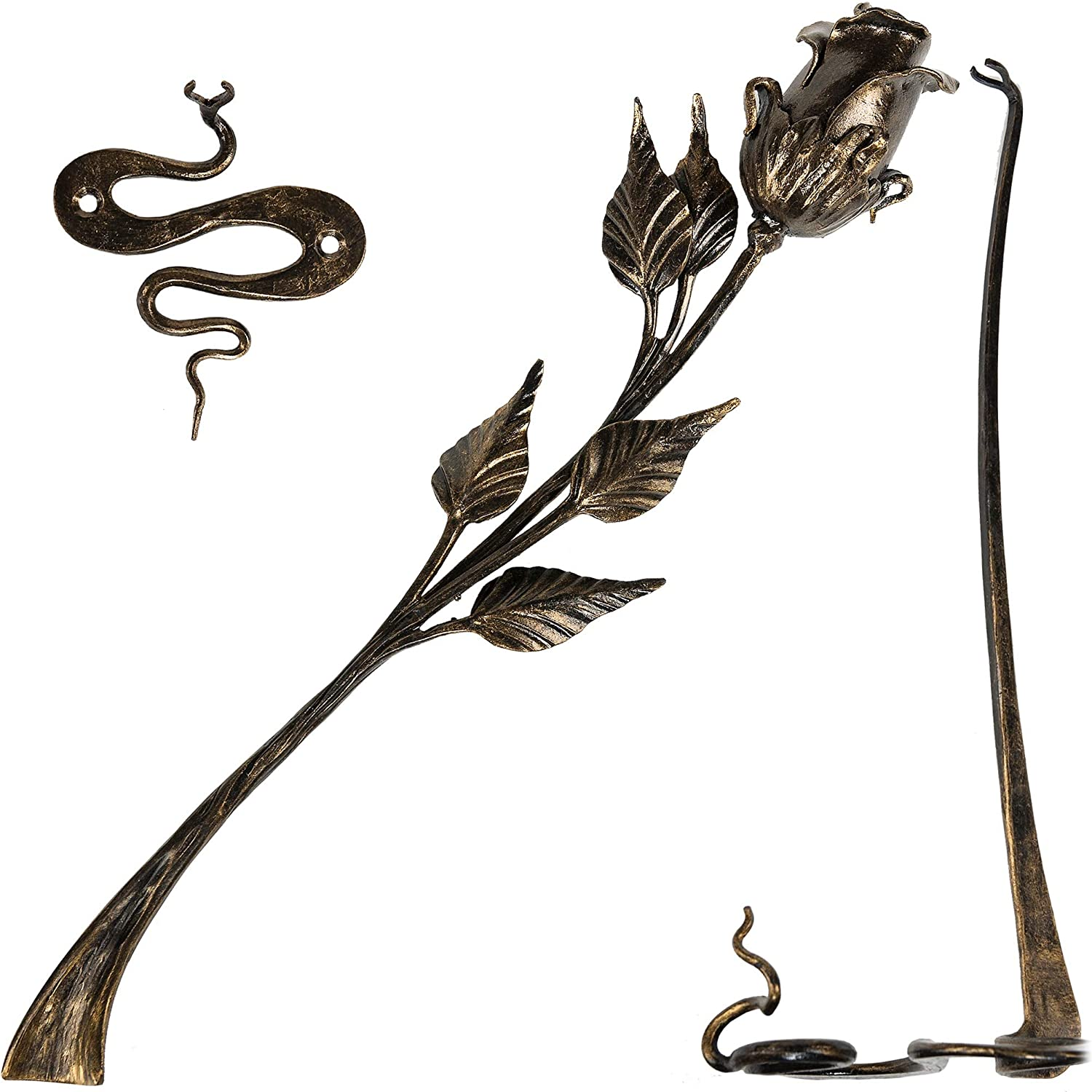 Hand Forged Metal pink Flower 16in Iron Sculpture w  Stand and Wall Holder Wrought Steel Decorative Flower Centerpiece Decoration Unique Anniversary, Wedding, Mom's day Gift, Black w gold Patina, Mat