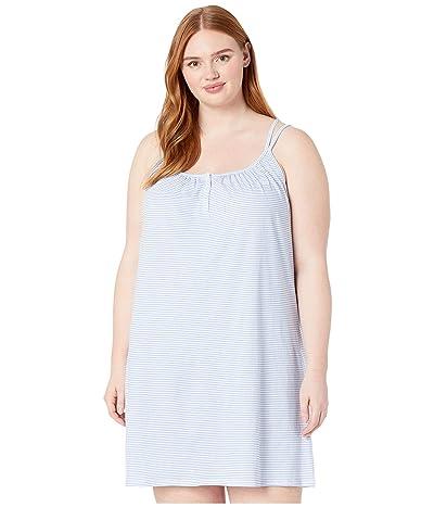 LAUREN Ralph Lauren Plus Size Sleeveless Double Strap Button Neck Gown (Blue Stripe) Women