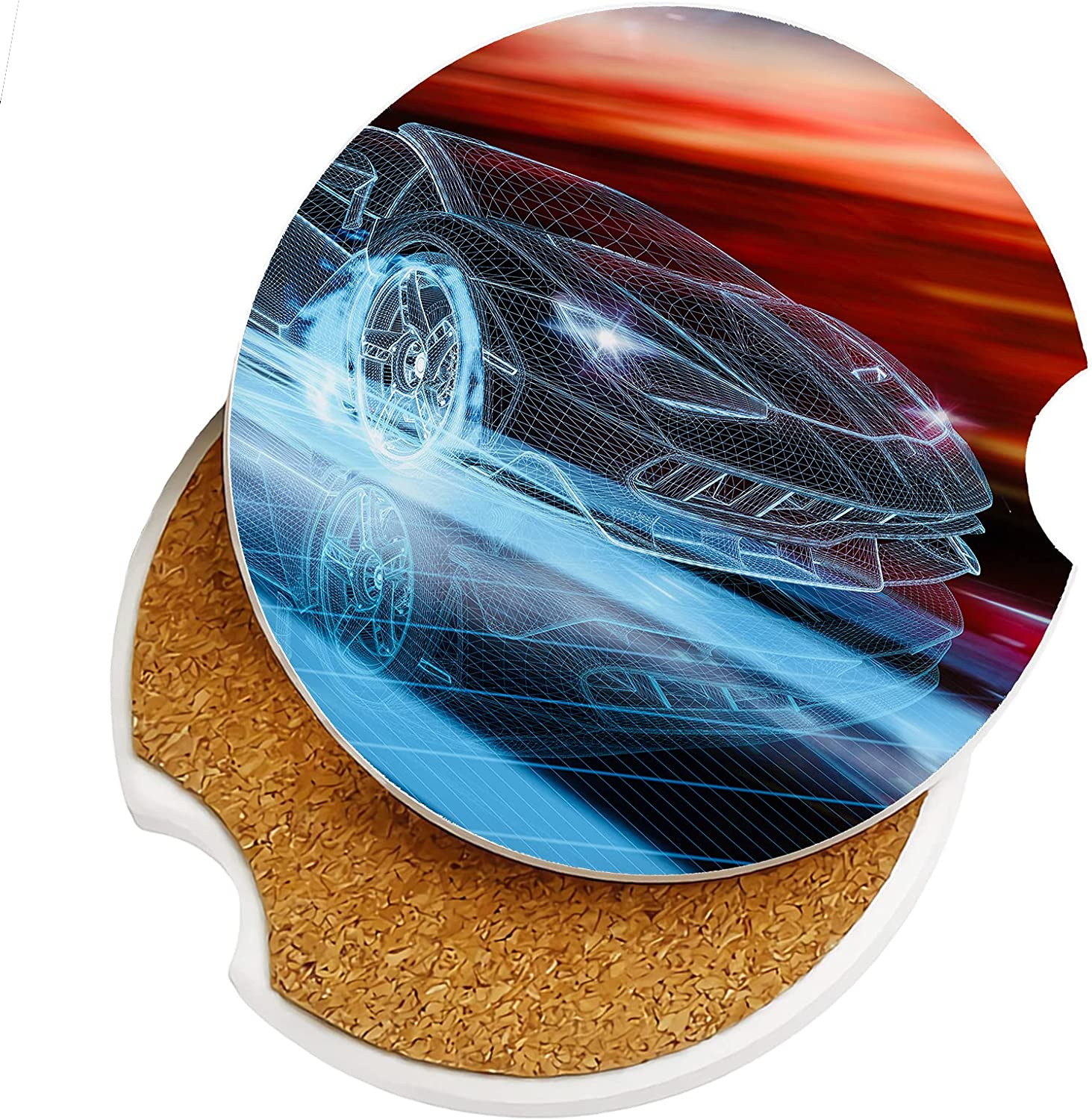 Absorbent Spring new work Car Coasters Luxury 2 Pack for Cup Holders Sto 2.56