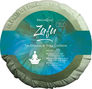 DreamTime Perfect Balance Zafu, Floor Meditation Pillow, Sage Velvet for Yoga, with Buckwheat Fill